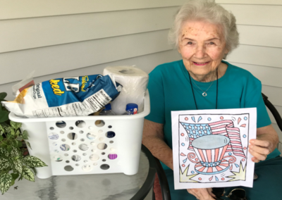 Homebound Adult Coloring Contest 1st place winner, Miss Virgie!